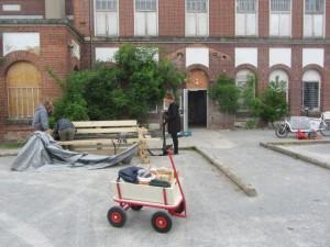 Ankunft des Spielmobils an der Schoko